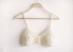 Crochet Bikini Top in White, Sexy crochet bra, Boho Bridal Lingerie, Festival crochet top, Lace crochet top, Boho bikini top.Hippie clothing...