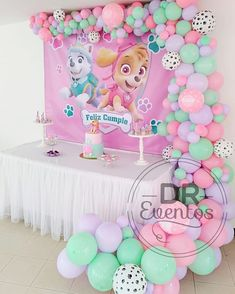 Paw Patrol Birthday Theme, Baby Girl Birthday Theme, 2nd Birthday Party Themes, Girl Paw Patrol Party, 3rd Birthday, Paw Patrol Sky Cake, Paw Patrol Skye, Paw Patrol Party Decorations, Birthday Decorations