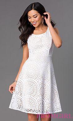 Knee Length Sleeveless Scoop Neck Dress at PromGirl.com