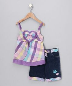Take a look at this Purple Pastel Plaid Tank & Denim Shorts - Infant, Toddler & Girls by Young Hearts on #zulily today!