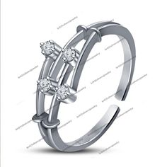 14Kt White Gold FN Rd Sim. Diamond in 925 Silver Women's Fashion Adjustable Ring #br925 #FashionRing