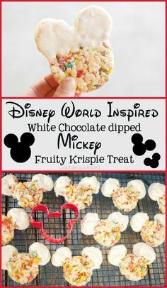 Disney World Mickey Krispie Treat - chocolate dipped Rice Krispie recipe KristenDuke.com. Deb Kennedy