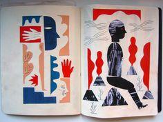 Laurent Moreau - sketchbook with collages