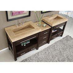 Silkroad Exclusive Travertine Countertop Double Stone Sink Bathroom Vanity
