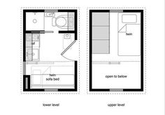 8x12 tiny house plan - Google Search twin bed upstairs, love seat downstairs
