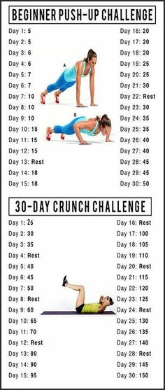 Workout Routines for all Body Parts : Thriving 30 Day Challenges // Push-Ups & Crunch Challenge - All Fitness Fitness Herausforderungen, Fitness Motivation, Sport Fitness, Fitness Workouts, At Home Workouts, Health Fitness, Monthly Workouts, Fitness Foods, Fitness Journal