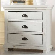 Burnell 3 Drawer Night Stand Color: Distressed White