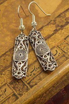 Sadie Thompson - Reclaimed Vintage Sterling Silver RARE Filigree Earrings by designer Mackie Mullane. $48.00, via Etsy.
