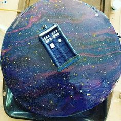 """Wow, @mrs.kinger, this cake is amazing! 12/12, would eat while traveling through all of time and space."" Doctor Who cake"