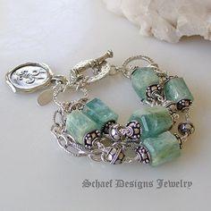 Aquamarine sterling silver figaro bracelet