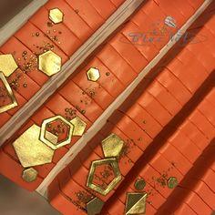 Coral geometric cake bars Geometric Cake, Cake Bars, Coral, Modern, Trendy Tree