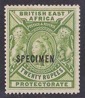 BRITISH EAST AFRICA 1897 QV Lions 20R SPECIMEN normal cat £1200.