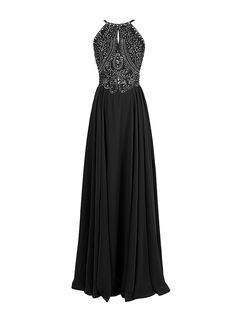Fashion A-line Halter Straps Chiffon Long Prom Dress With Beaded