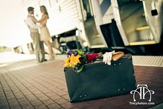 wedding photography, train station, luggage, suitcase