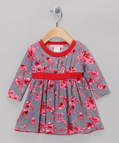 Take a look at this Gray & Mauve Holiday Rose Dress - Infant & Toddler by Everyday Nay on #zulily today!