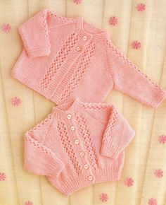 Baby Knitting Pattern QK or 4 ply Matinee Coat & Cardigan