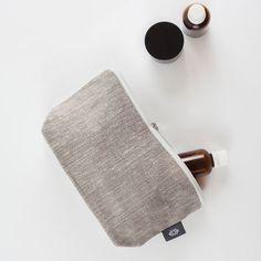 Medium Grey Linen Toiletry Storage Kit Travel Case by ThingStore