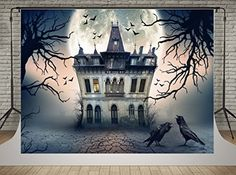Kate Castle Under Moon Photo Backdrop For Halloween Photography Halloween Photography Backdrop, Halloween Backdrop, Background For Photography, Photography Backdrops, Halloween Themes, Halloween Fun, Halloween Tattoo, Halloween Prints, Halloween Decorations
