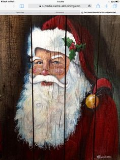 how to paint a easy santa face on decor Father Christmas, Christmas Signs, Christmas Pictures, Rustic Christmas, Christmas Art, Vintage Christmas, Christmas Decorations, Christmas Ornament, Ornaments