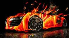 3D Nice Sports Car Wallpaper with Burn Effect
