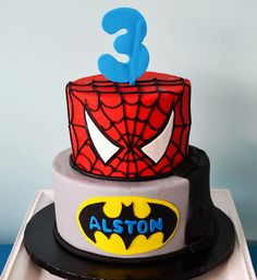 Spiderman Batman Cake by Simply Sweet Creations (www.simplysweetonline.com)