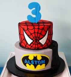 Spiderman Batman Cake by Simply Sweet Creations (www.simplysweetonline.com)