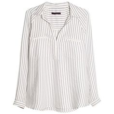 Violeta by Mango Raglan Sleeve Striped Blouse (2.630 RUB) ❤ liked on Polyvore featuring tops, blouses, shirts, long sleeves, bright blue, long shirt, white long sleeve blouse, white shirt, long white shirt and long-sleeve shirt