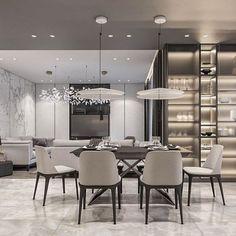 Best Dining Room Tiles Ideas 2019 ~ Home Decor Journal Luxury Dining Room, Dining Room Design, Dining Rooms, Apartment Interior, Room Interior, Modern Townhouse Interior, Living Room Shelves, Küchen Design, Modern Interior Design