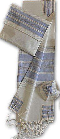 "Amazing Hand Woven White with Blue Stripes & Silver Accents Silk Tallit Set 20 x 80 by the Famous Israeli Weaver Gabrieli including Matching Tallit Bag and Kippah/Yarlmulka by J Levine/Millennium. $299.99. Beautiful Tallit 20"" x 80"" can be worn by Bar/Bat Mitzvah or any Man or Woman.    Gabrieli Tallit Hand Weaving was founded in 1964 by Malka Gabrieli, who studied at the Bezalel Academy of Arts and Design in Jerusalem. The studio is located in Jaffa..."