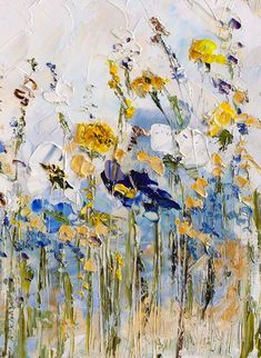Original Oil Painting Palette Knife Blue Yellow Gray White Art Colorful Wildflowers Impasto on Canvas Living Room Art Boho Flowers Painting Oil Painting Flowers, Texture Painting, Abstract Flowers, Sun Painting, White Art, Painting Inspiration, Les Oeuvres, Flower Art, Canvas Art
