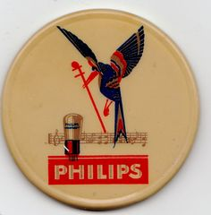 ADVERTISING FOR A RADIO BULB FROM PHILIPS - CELLULOID POCKET MIRROR