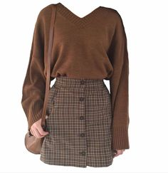 Brown dress made of polyboard moodboard filler # . Aesthetic Fashion, Look Fashion, Aesthetic Clothes, Korean Fashion, Fashion Outfits, Fashion Design, 90s Fashion, Winter Fashion, Fashion Tips