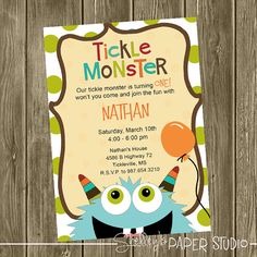Tickle Monster Birthday Invitation by shelleyspaperstudio on Etsy, $15.00