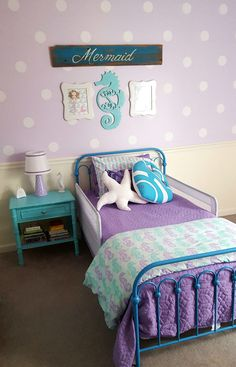 http://www.walmart.com/ip/9-by-Novogratz-Bright-Pop-Twin-Metal-Bed-Multiple-Colors/38553527 Little Girl Rooms, Little Mermaid Room, Teal Girls Rooms, Baby Girl Room Themes, Mermaid Girls Rooms, Big Girl Bedrooms, Bedroom Themes, Teal Bedrooms, Preteen Girls Rooms