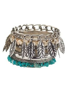 Feather and turquoise bead bracelet ser (original price, $16) available at #Maurices