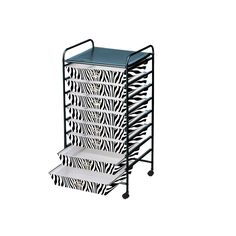 Eight Drawer Zebra Pattern Poly Cart. Cart Includes 8 By Sliding Drawers  With Castors By Storage Solutions®
