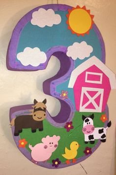 Animal by aldimyshop Cow Birthday, Farm Animal Birthday, Girl Birthday Themes, 4th Birthday Parties, Farm Animal Party, Barnyard Party, Farm Party, Cowgirl Party, Crafts