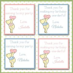 Winnie the Pooh Favor Tags Pink or Blue / Square / Personalized Custom / Teddy Bear / Baby Shower / Custom Teddy Bear, Teddy Bear Baby Shower, Tag Photo, Personalized Tags, Blue Square, Hang Tags, Favor Tags, Party Themes, Party Ideas