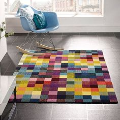 Energise your everyday space with the bright colour and cosy quality in the geometric Pixie Modern Rug from Rug Culture.