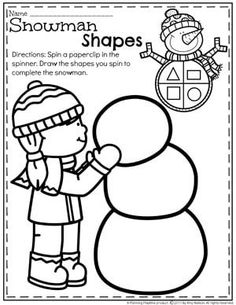 Make a Snowman Shapes Worksheet for Winter.