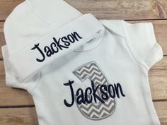 Baby Boy COMING HOME Outfit - Chevron Monogram Bodysuit, Blue Personalized Baby Onesie Bib Burp Cloth , Initial Monogram Newborn by StitchinDoodle on Etsy