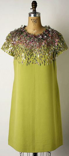 1966 to 67 House of Dior, Marc Bohan Designer Cocktail dress  Metropolitan Museum of Art, NY. See more museum collection dresses at www.vintagefashionandart.com.