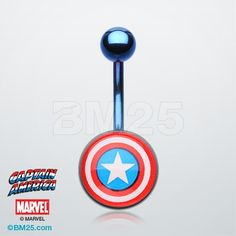 Captain America™ Blue Titanium PVD Belly Button Ring