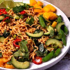 peanut sauce noodles and mango salad (healthy vegan recipe) Peanut Sauce Noodles, Spicy Peanut Sauce, Whole Food Recipes, Vegan Recipes, Potluck Salad, Mango Salad, Baked Tofu, Veggie Tray, Pasta Noodles