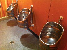 Repurposed metal beer barrels for homemade furniture. Recycling of a barrel as barstool, table or washbasin in the pub. Bar urinals from recycled beer kegs. Bar Chairs, Bar Stools, Beer Keg, Homemade Furniture, Horseshoe Art, Diy Bar, Basement Bathroom, Repurposed, Van