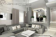 Projekt salonu Inventive Interiors - szarość połączona z beżem w przytulnej aranżacji salonu