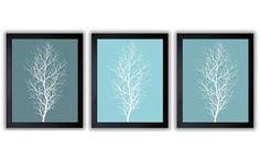 Teal Trees Abstract Art Modern Minimalist Print Tree Wall Decor Bathroom