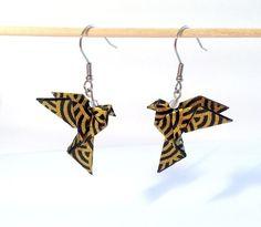 Colombes origami, oiseaux noir et doré boucles d'oreilles origami