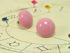 Pink Stud Earrings 20 mm  Rose Pink Post Stud Earrings  by biesge, $14.90