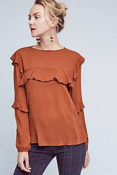 Raccolto Ruffle Blouse Edgy Outfits, Unique Outfits, Girl Outfits, Hijab Fashion, Teen Fashion, Corporate Fashion, Fashion Forecasting, Denim And Lace, Casual Tops